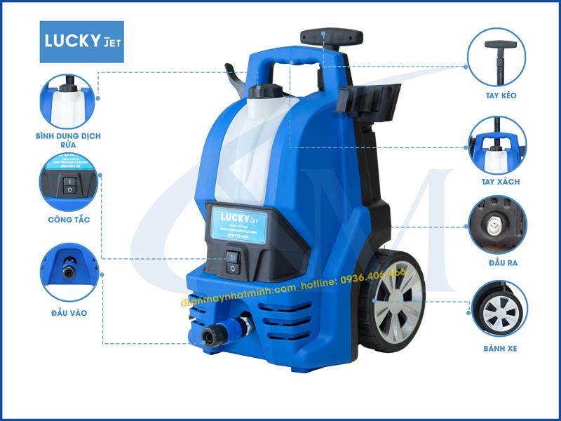 Chi tiết từng bộ phận máy rửa xe mini gia đình Lucky Jet 110P