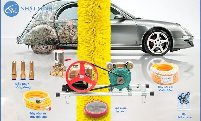 Bộ máy rửa xe dây đai với đầy đủ phụ kiện