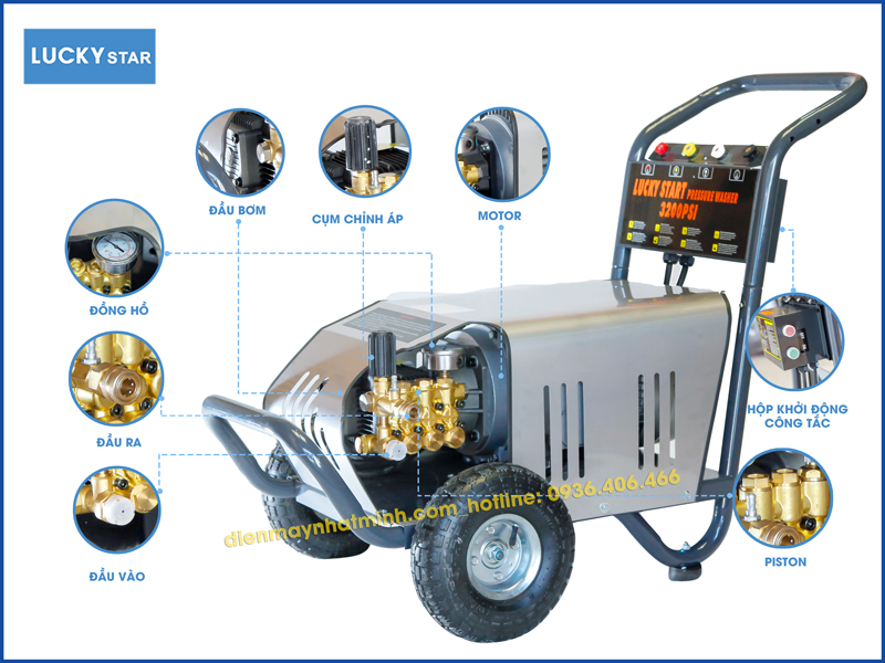 Các chị tiết trên máy rửa xe cao áp 3200PSI