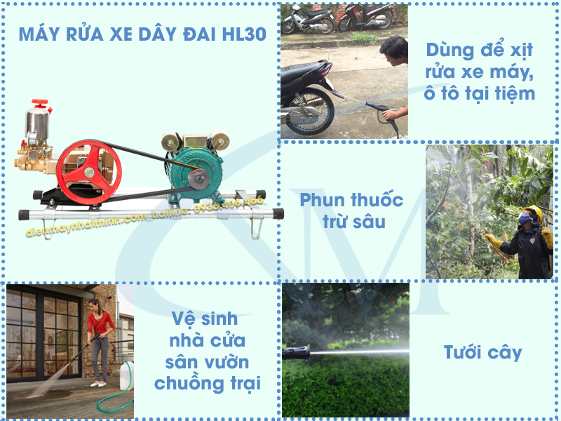 Ứng dụng máy rửa xe dây đai HL30 rộng rãi trong cuộc sống
