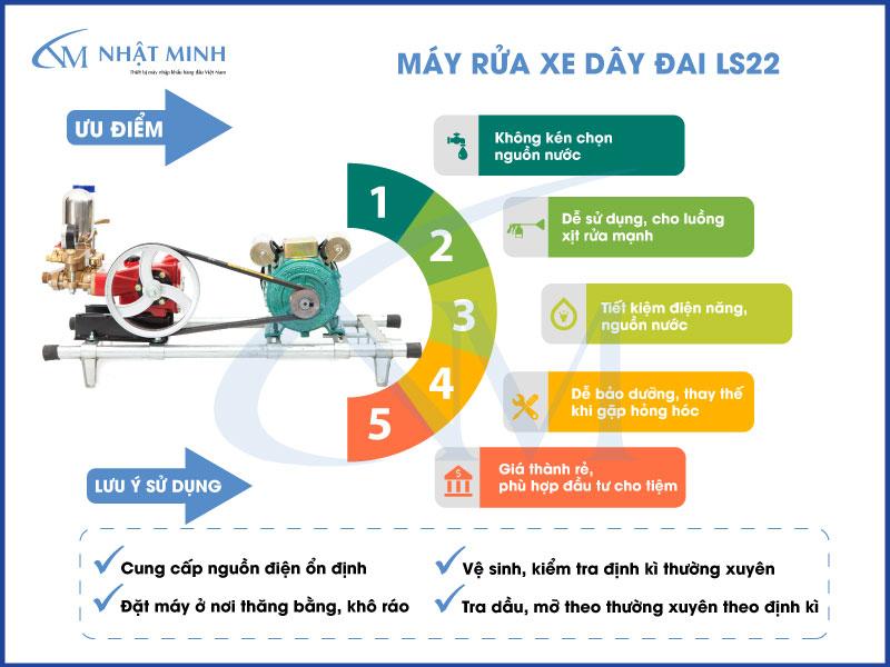 Ưu điểm và lưu ý khi sử dụng máy rửa xe dây đai LS22