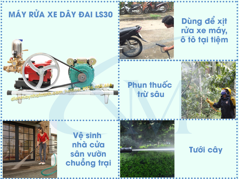 Ứng dụng thực tế của máy rửa xe dây đai LS30