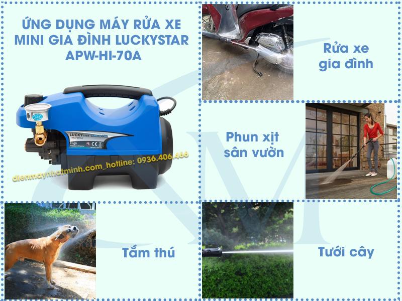 Ứng dụng vào thực tiễn của máy rửa xe mini LuckyStar APW-HI-70A