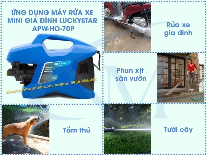 Máy rửa xe mini LuckyStar APW-HO-70P được sử dụng rộng rãi trong đời sống
